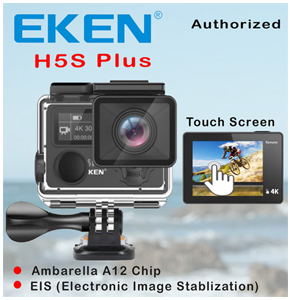 EKEN H5s Plus 4K Ambarella A12 Chipset 4K 30fps Utral HD EIS Touch Screen Camera